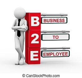 signpost, b2e, 3d, illustrazione, uomo affari