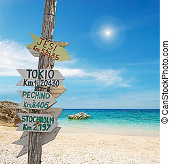 signpost by the sea