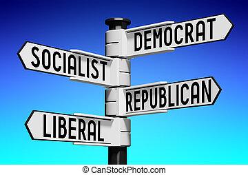 signpost, com, quatro, setas, -, política, conceito