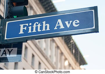 signpost, con, quinto viale, in, new york