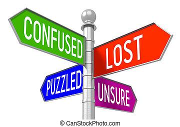 signpost, conceito, -, perdido, coloridos