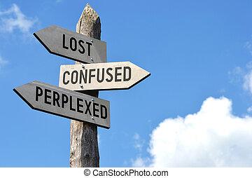 signpost, confundido, deixado perplexo, perdido
