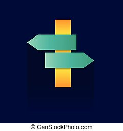 Signpost . Design vector icon on blue background