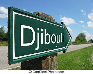 signpost, djibouti, ao longo, estrada, rural