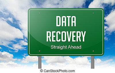 signpost., données, récupération, autoroute