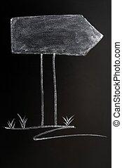 Signpost drawn in chalk on a blackboard