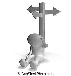 signpost, e, 3d, homem, mostrando, confusão, e, decisão
