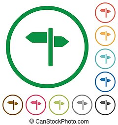 Signpost flat icons with outlines