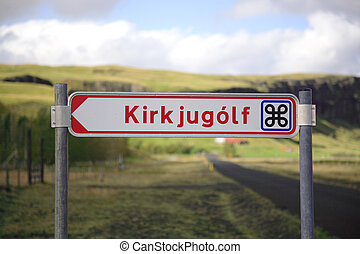 Signpost for Kirkjugolf