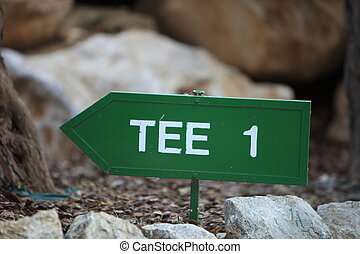 Signpost for the first tee on a golf course
