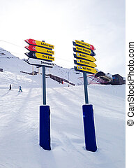 Signpost giving directions to different ski slopes