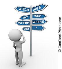 signpost, homem, pergunta, palavras, 3d