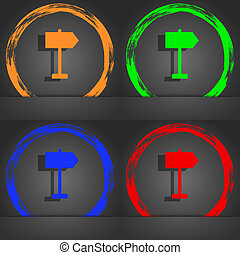 Signpost icon symbol. Fashionable modern style. In the orange, green, blue, green design.
