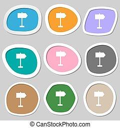 Signpost icon symbols. Multicolored paper stickers. Vector