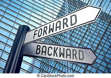 Signpost illustration, two arrows - forward and backward