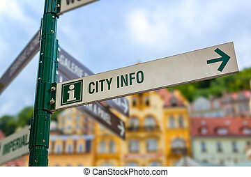 Signpost in city