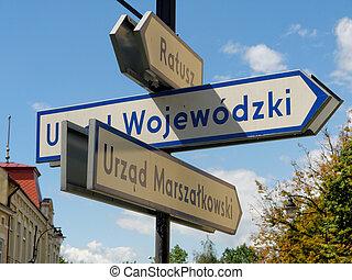 Signpost in Rzeszow, Poland.