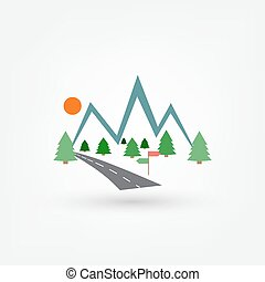 Signpost in the mountains icon