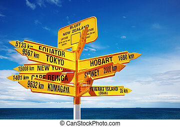 Signpost in the Stirling Point, Bluff, New Zealand. Most ...