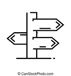 Signpost line icon, concept sign, outline vector illustration, linear symbol.