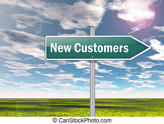 Signpost New Customers - Signpost with New Customers wording