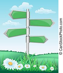 signpost on the meadow with flowers