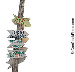 signpost on white