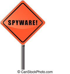 Signpost orange text spyware.