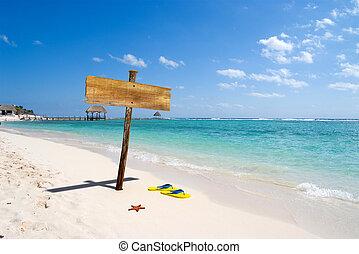 signpost, praia