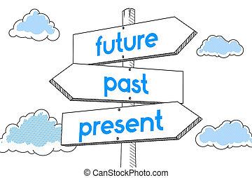 signpost, -, presente, passato, futuro, fondo, bianco