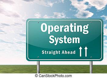 signpost, sistema operacional, rodovia