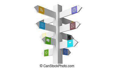 Signpost with apps, isolated on white background.