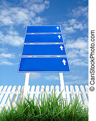 signpost with blue sky - signpost