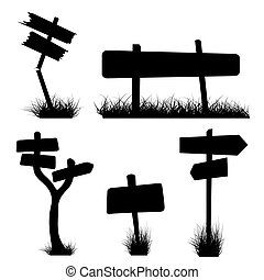 signposts silhouettes - Set of various signposts silhouettes