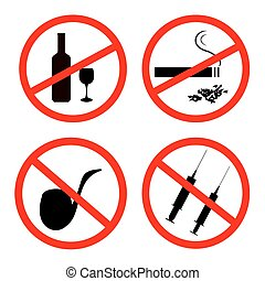 Signposts - Vector of: No smoking, No alcohol and no drugs...