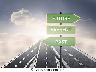 Signposts with future present and p