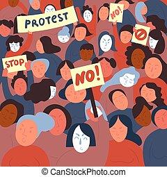 signs., いいえ, 女性, demostrants, 抗議, 止まれ