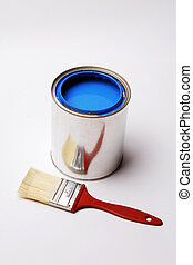 Signs and Symbols of Home Decorating, Paint and Paintbrush on White Background.