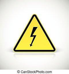 signs., attention, choc, électrique
