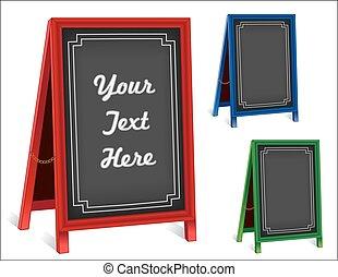 Signs, Chalk board Folding Sidewalk Easels, Red, Green, Blue Frames