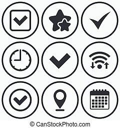 signs., checkbox, 点検, icons., 確証しなさい