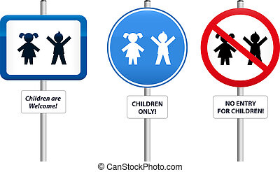 Three signs, that welcome children or that try to keep them away. The text in the signs can be changed.