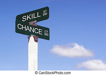 Signs Crossraods Skill Street Chance Avenue Sign Blue Skies Clou