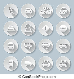 Signs - Set of flat round icons with transports on gray...