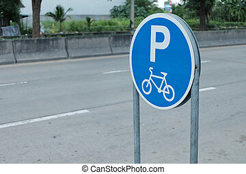 Signs for bicycle parking.