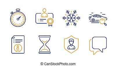 signs., icônes, recherche, climatisation, certificat, information, vecteur, technique, voiture, sablier, set., minuteur, temps