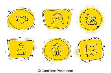signs., iconen, zoeken, ingenieur, vector, handdruk, glimlachen, paar, mensen, yummy, bril, set., champagne