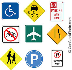 Image of various road and parking signs.
