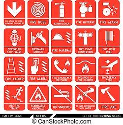signs., jogo, segurança, icons., firefighting