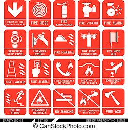 signs., komplet, bezpieczeństwo, icons., firefighting